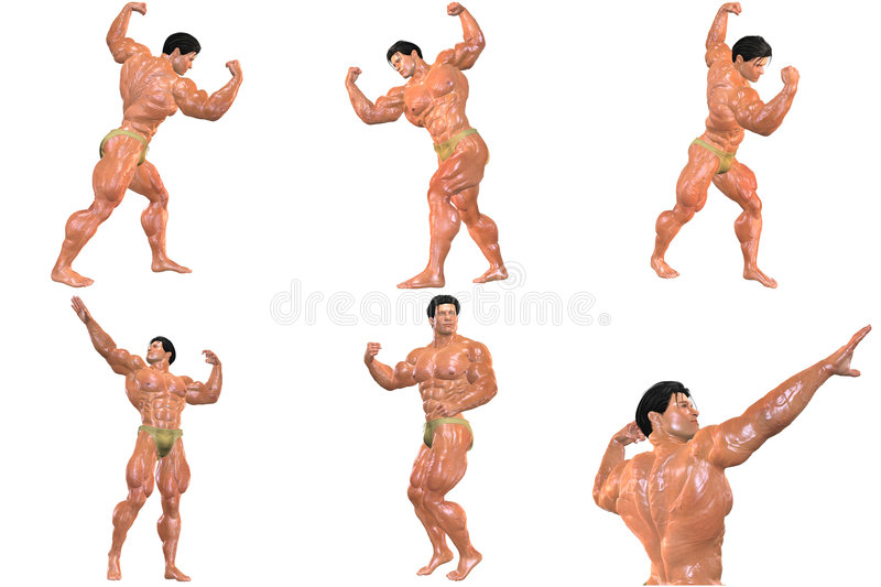 Download 6 For The Price Of 1! Body Builder 3D (with Clipping Paths) Royalty Free Stock Photos - Image: 723428