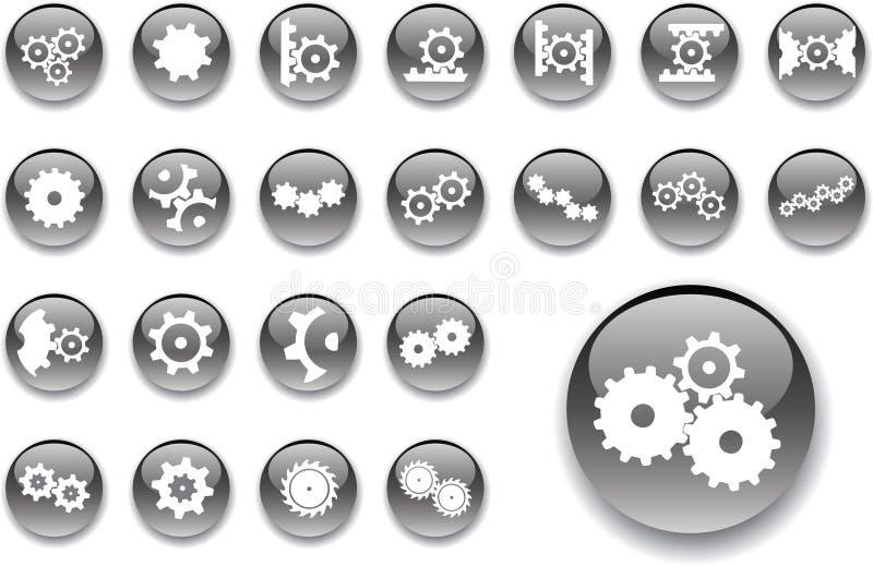 6 stora inställda knappkugghjul royaltyfri illustrationer