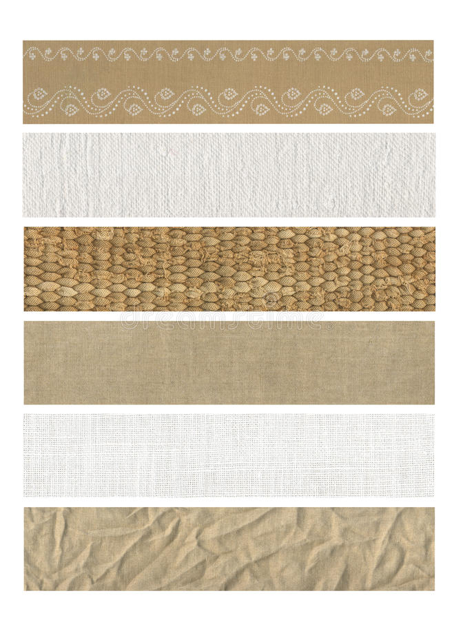6 sztandarów tkanina naturalna obrazy stock