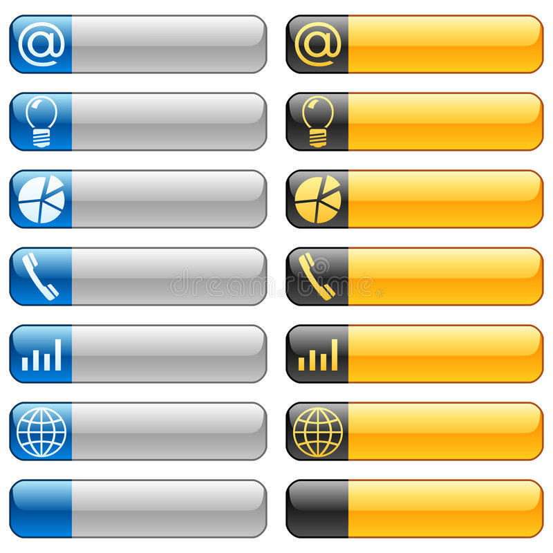 6 sztandaru guzików ikon sieć ilustracja wektor