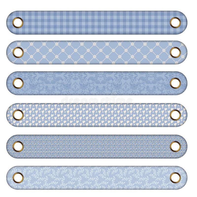 6 teclas ou bandeiras azuis diferentes ilustração do vetor