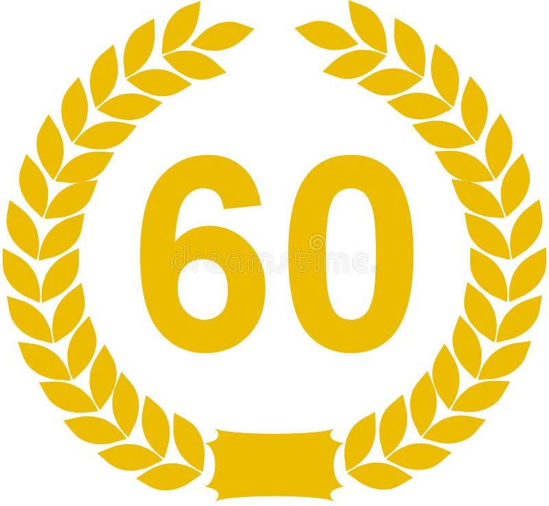 60 лет лаврового венка иллюстрация штока