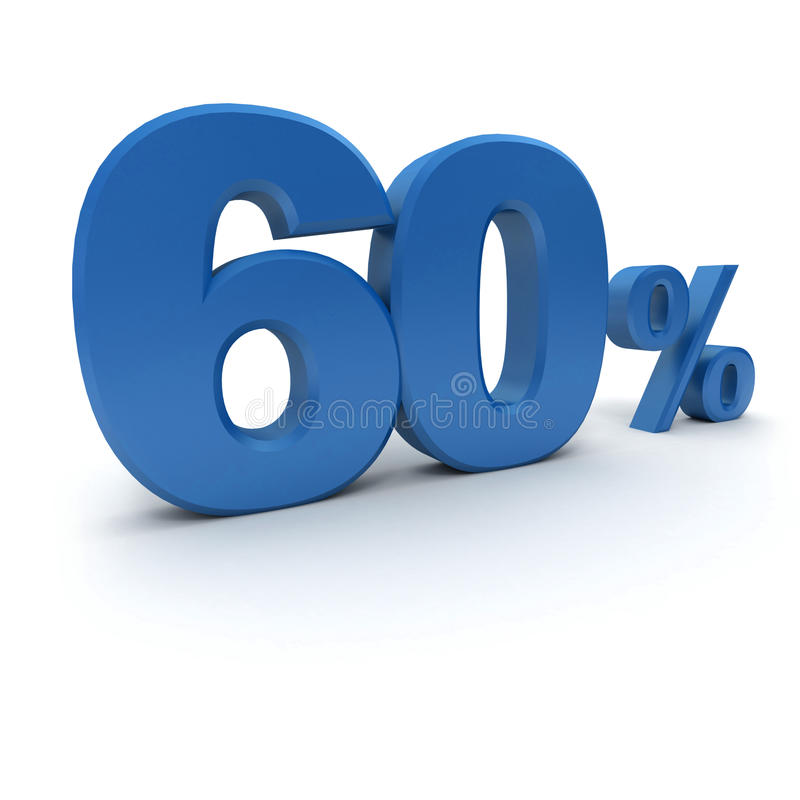 60% in blue. 3D rendering of a 60 per cent in blue letters on a white background