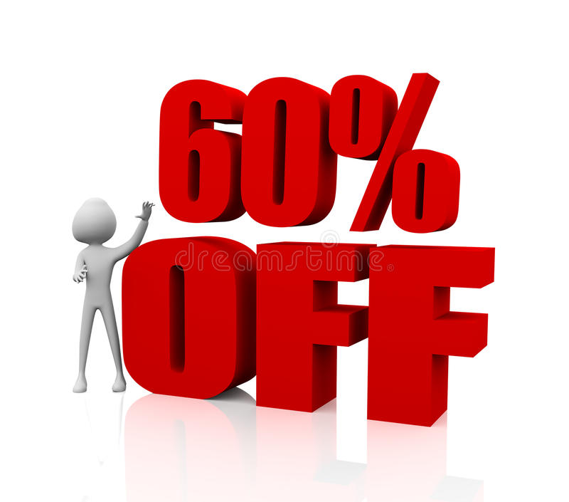 60% discount. 3D man with 60% Off sale discount