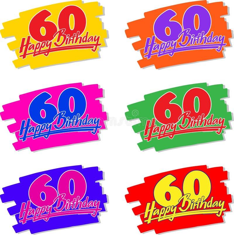 60 födelsedag lycklig tecknad hand royaltyfri illustrationer