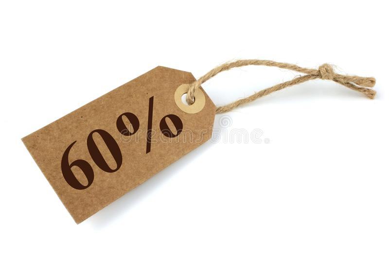 60% Sale label. With natural paper and string stock image