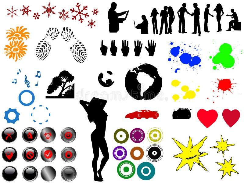 60 SpitzenGrunge Elemente vektor abbildung