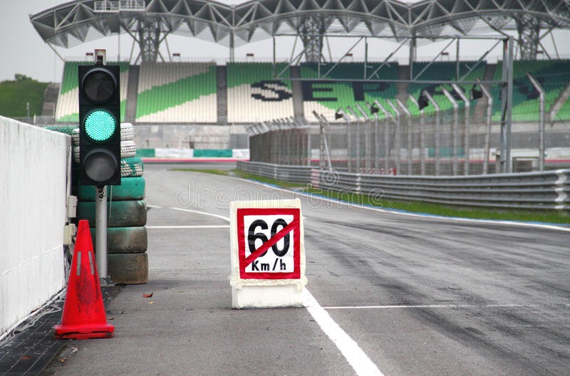 60km/h pit stop exit stock photos