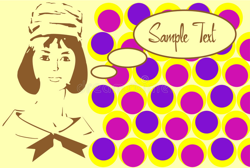 60s style card. Stylization in bright and vivid colours stock illustration