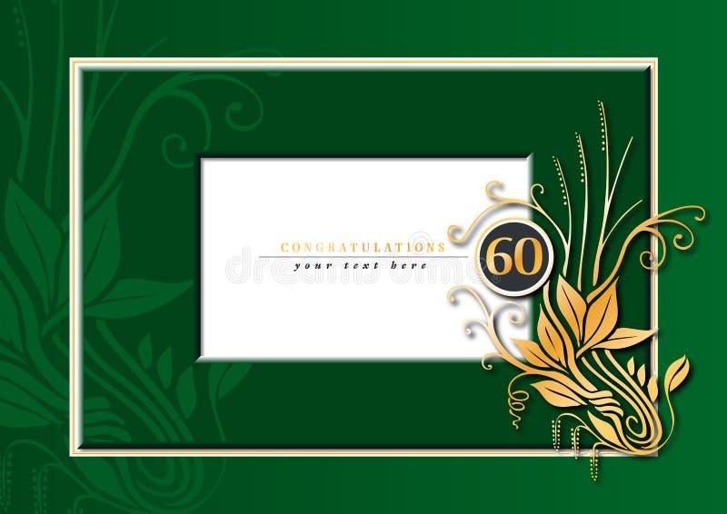 60th årsdag royaltyfri illustrationer