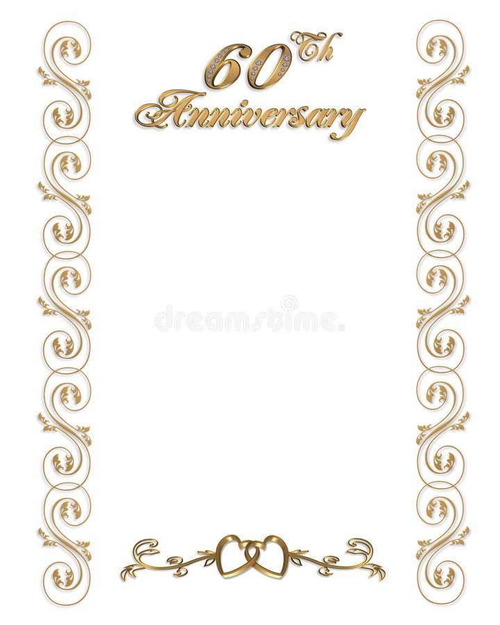 60th beira do convite do aniversário ilustração do vetor