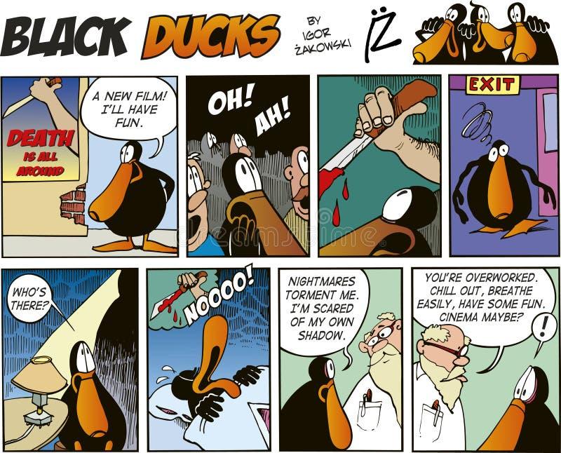 63只黑色漫画鸭子情节 皇族释放例证