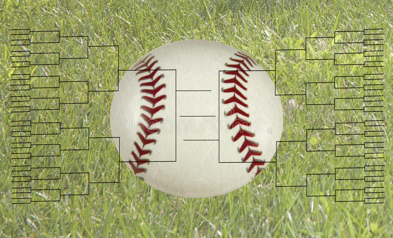 64个小组棒球比赛托架 库存图片