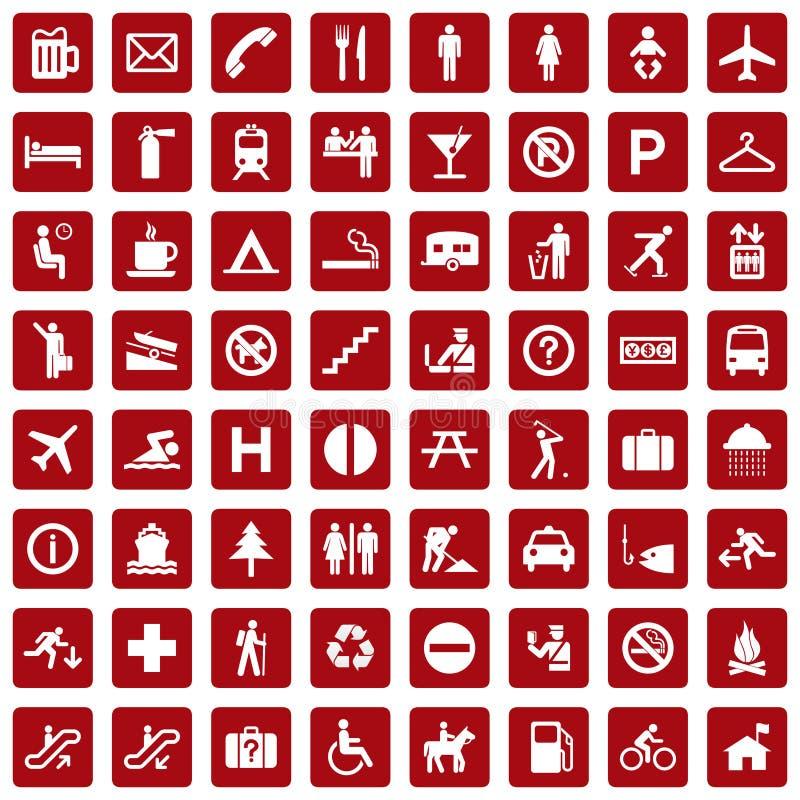 64 ícones diferentes, pictograma - vermelho ilustração stock