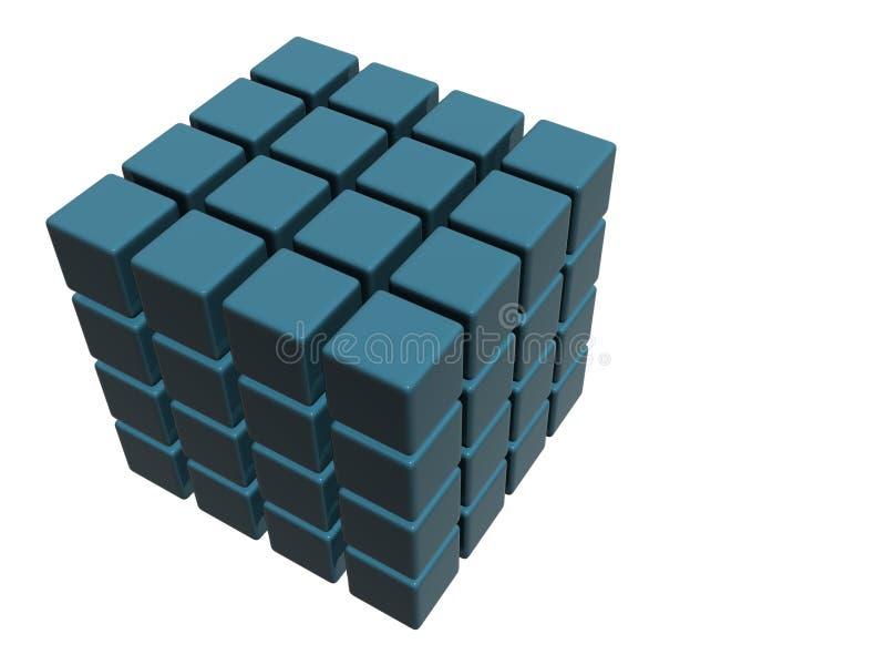 64 cubos azules ilustración del vector