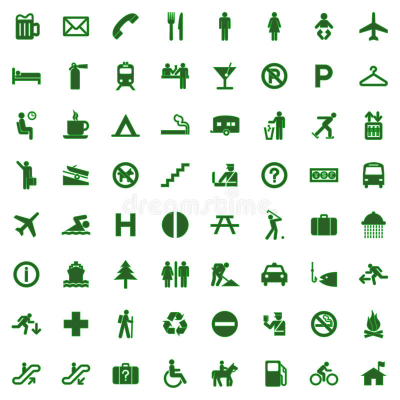 Free 64 Different Icons, Pictogram - Green Royalty Free Stock Photos - 13617868