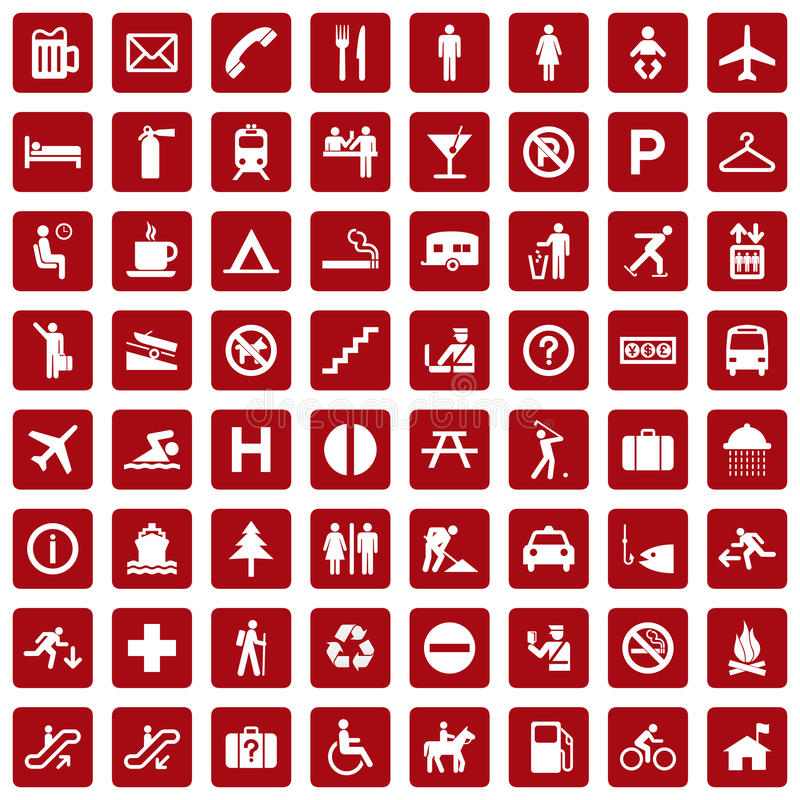 64 different icons, pictogram - red stock illustration