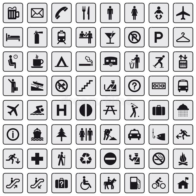 64 różny popielaty ikon piktogram ilustracja wektor