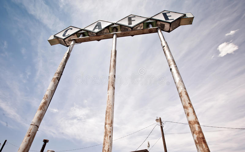 66 вдоль знака texas трассы кафа исторического стоковые фото