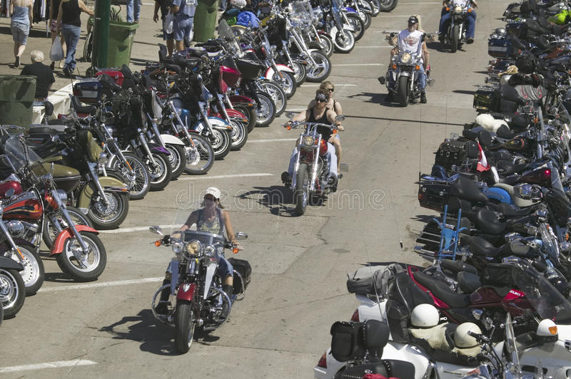 67th Annual Sturgis Motorcycle Rally,. Elevated view of Main Street with motorcycles lining road at the 67th Annual Sturgis Motorcycle Rally, Sturgis, South royalty free stock image
