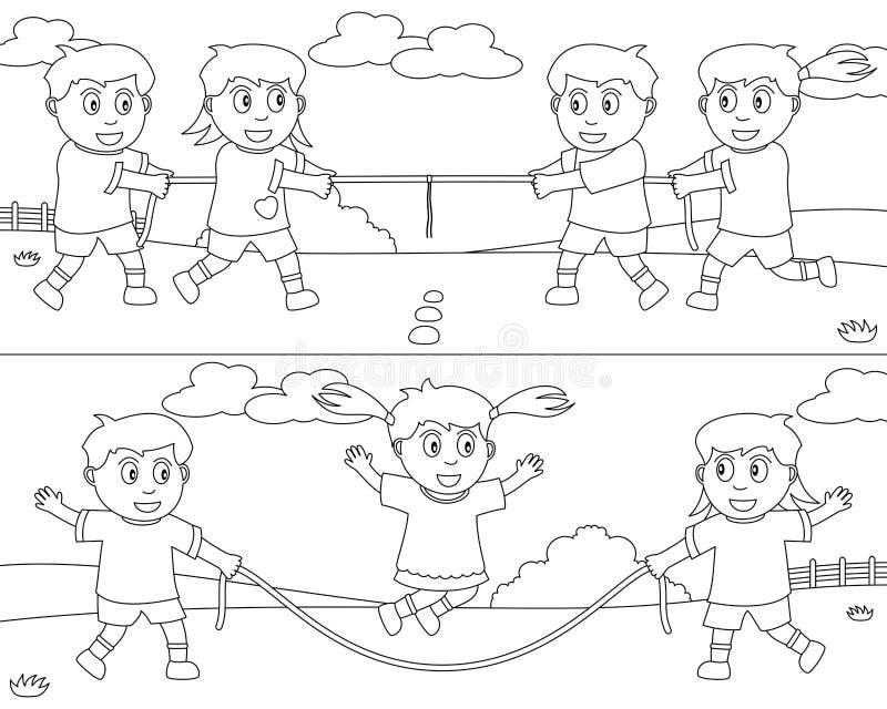 7个上色孩子体育运动 向量例证