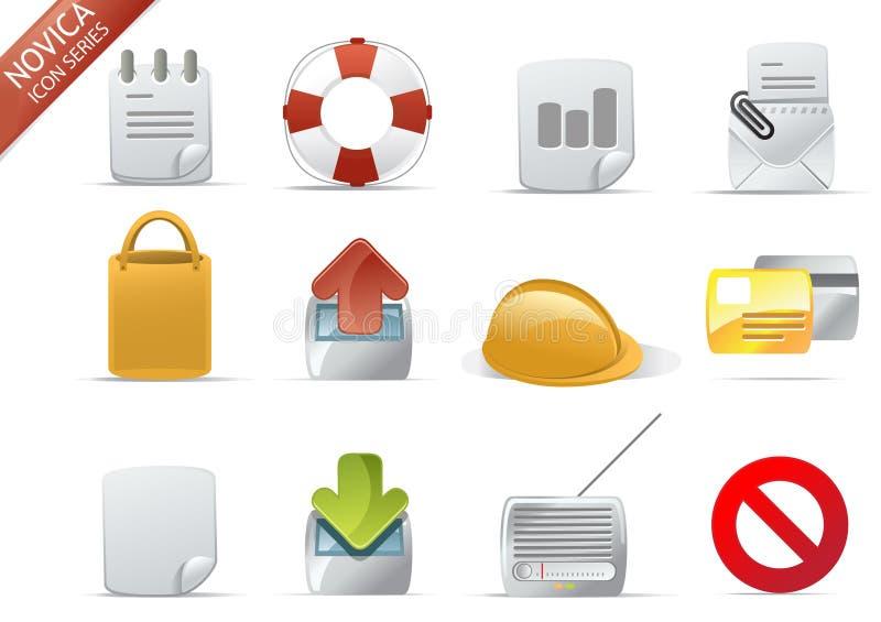 7个图标novica系列万维网 库存例证