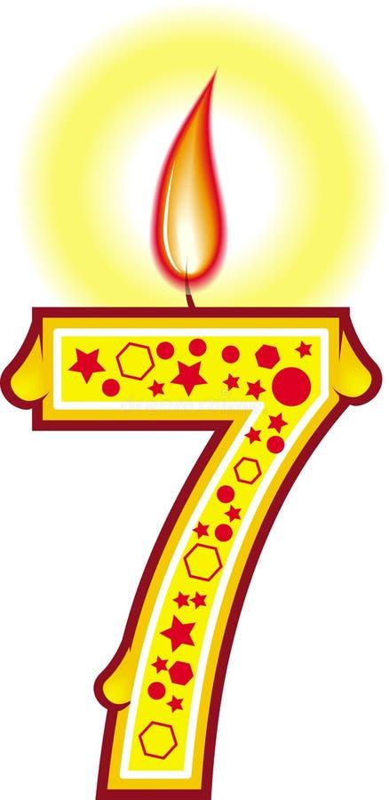 7个生日蜡烛 向量例证