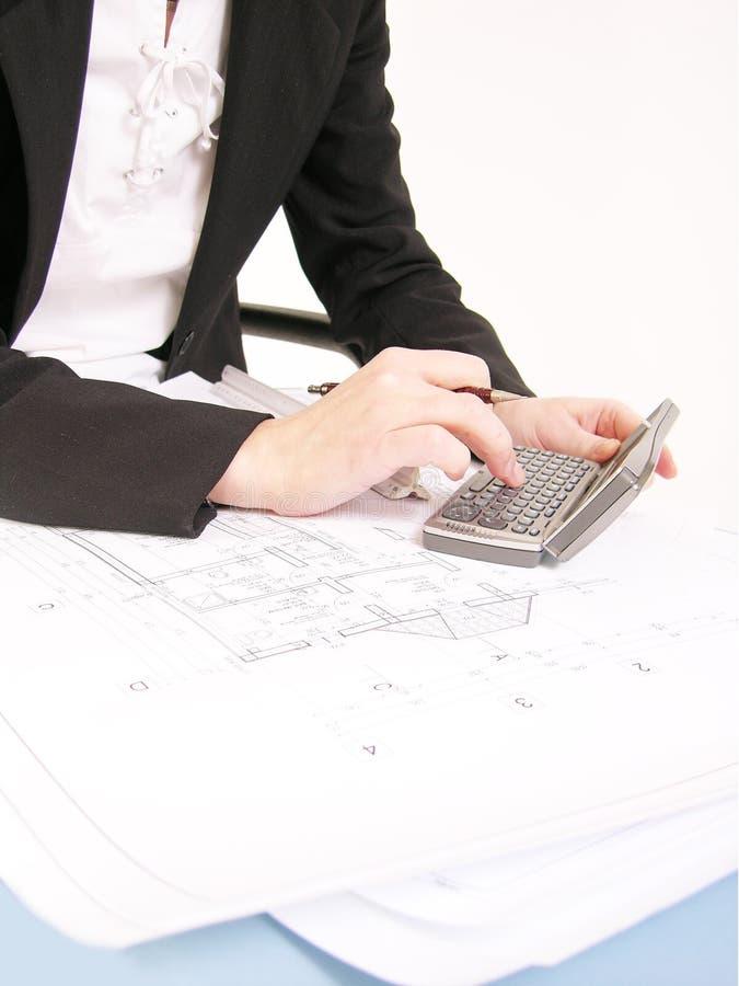 7位建筑师工作 免版税库存照片