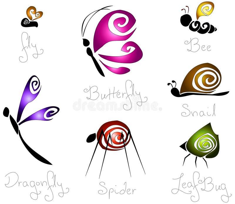 7只概念不同的昆虫传统化了 向量例证