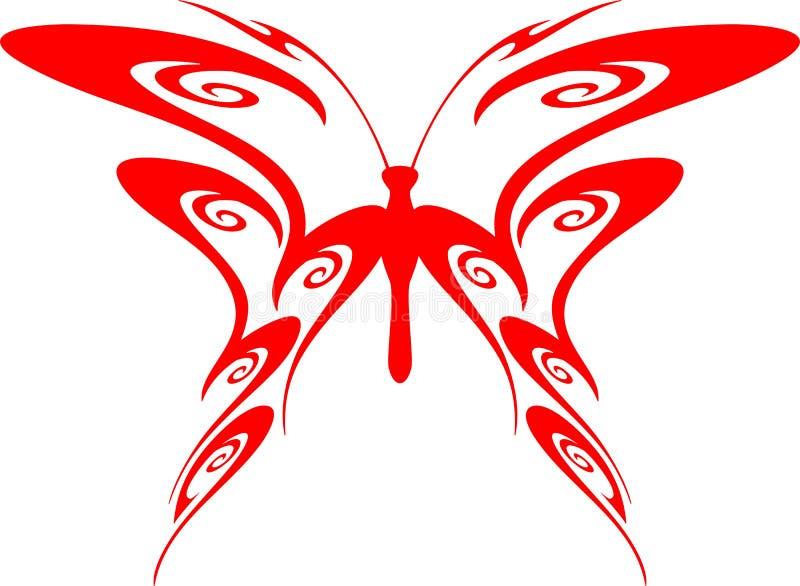 7只蝴蝶火焰状部族向量 库存例证