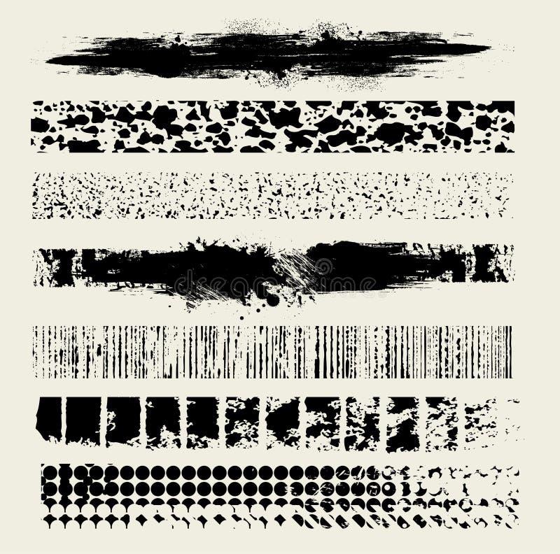 7支画笔grunge线路向量 向量例证