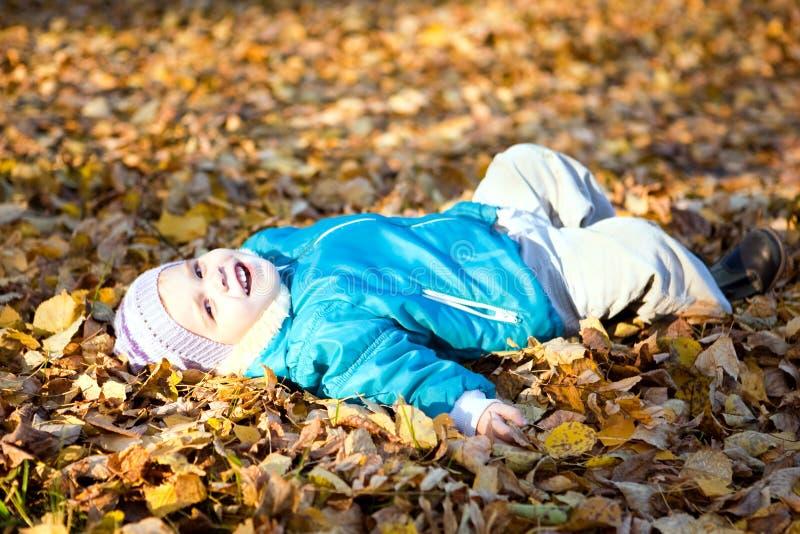 7片秋天儿童叶子投掷 免版税库存照片