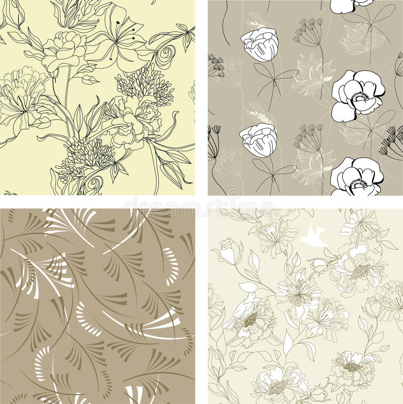 7花卉模式无缝的集 库存例证