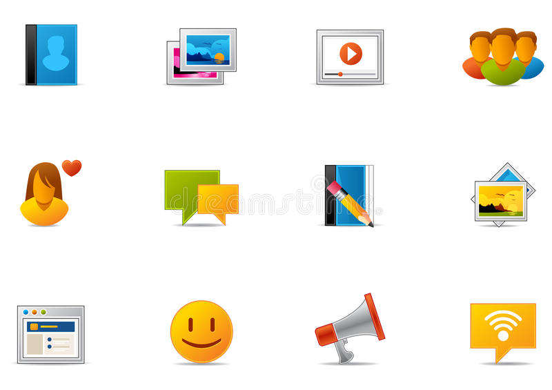7 środków networking pixio ustalony socjalny ilustracja wektor