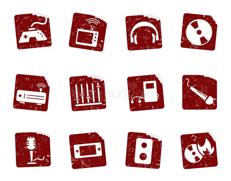 7 αυτοκόλλητες ετικέττες εικονιδίων grunge απεικόνιση αποθεμάτων