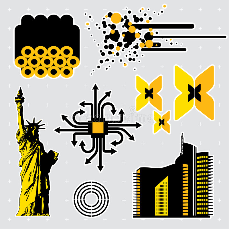 7 στοιχεία σχεδίου διανυσματική απεικόνιση