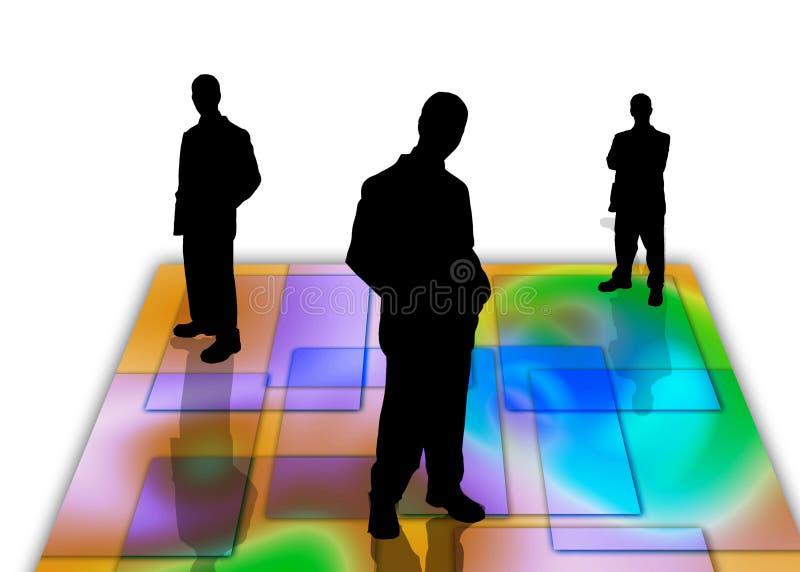 7 бизнесменов теней иллюстрация вектора