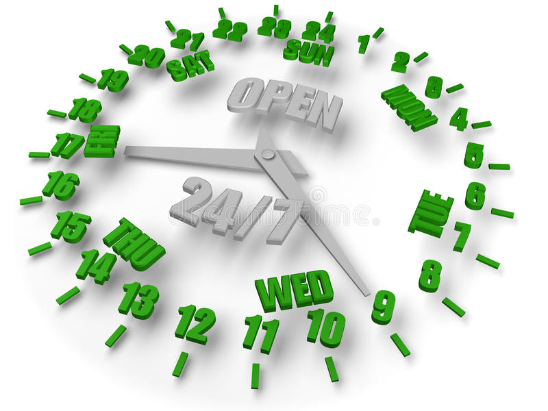 7 24个时钟开放星期 向量例证