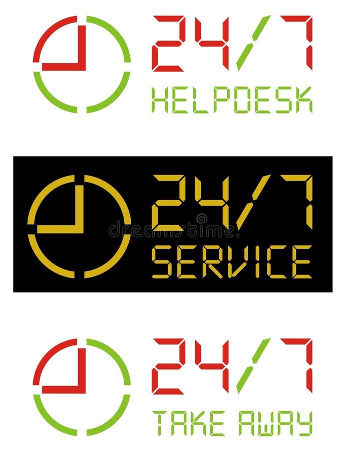 7 24 вектора иконы стоковое изображение rf
