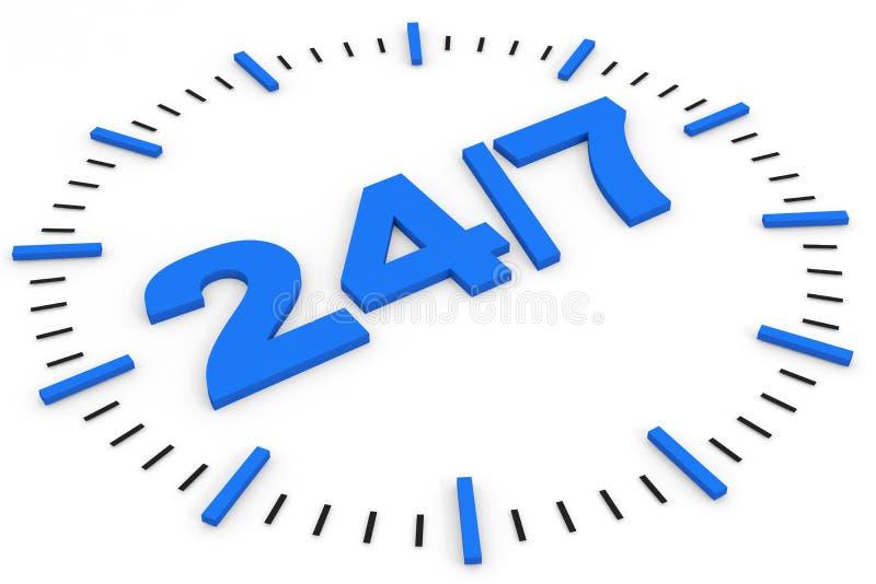 7 24 имеющихся часа иллюстрация вектора