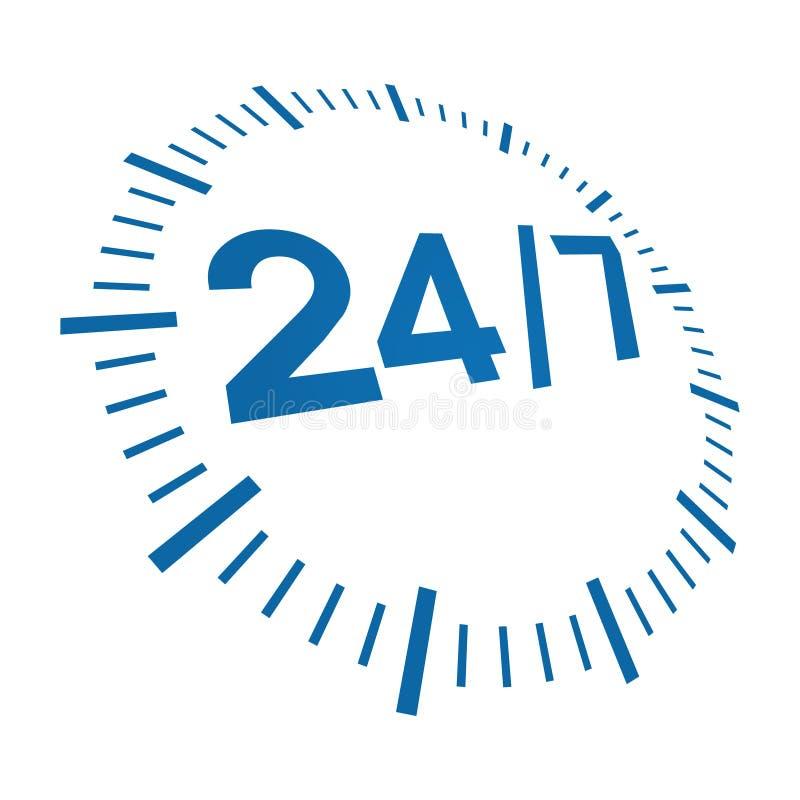 7 24 doręczeniowych godzina royalty ilustracja