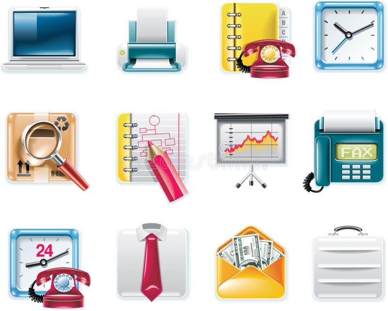 7 affärssymboler part den fyrkantiga universalvektorn stock illustrationer