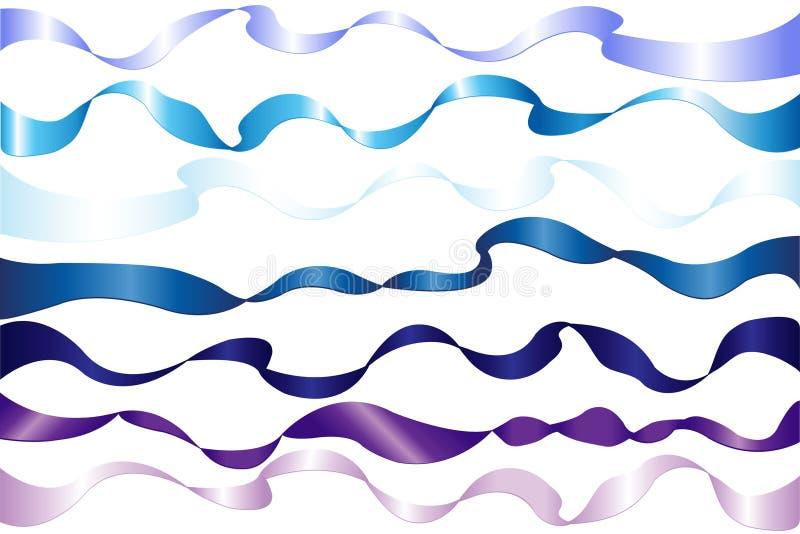 7 blaue Farbbänder lizenzfreie abbildung