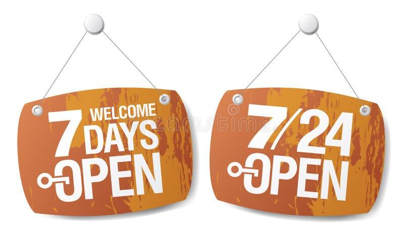 7 dzień otwierają znaki ilustracja wektor