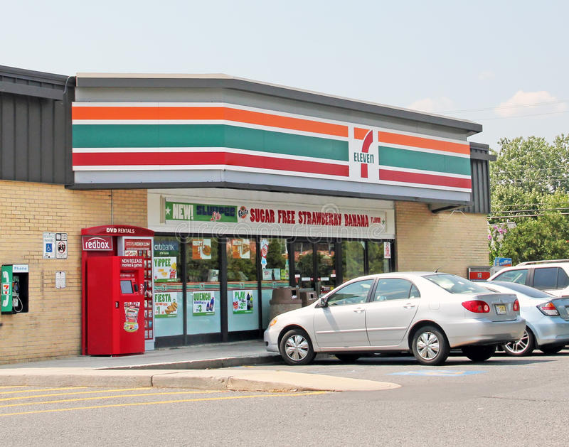 7 Eleven. In NJ shore in Long Branch is a convenience store which serves groceries, toiletries, alcoholic and soft drinks royalty free stock image