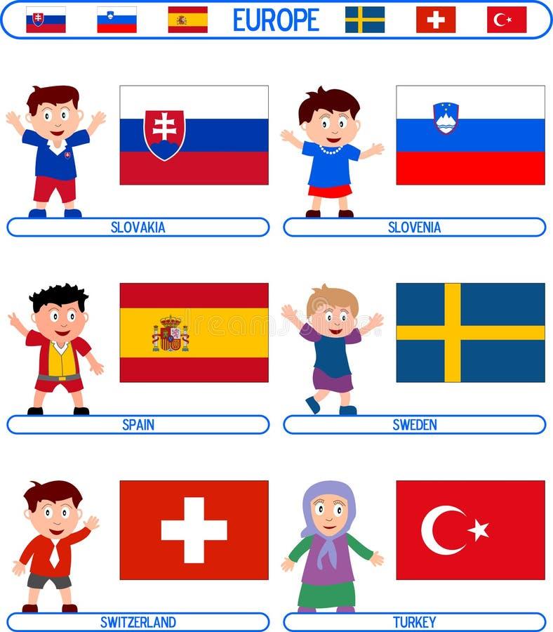 7 Europa flaggaungar royaltyfri illustrationer