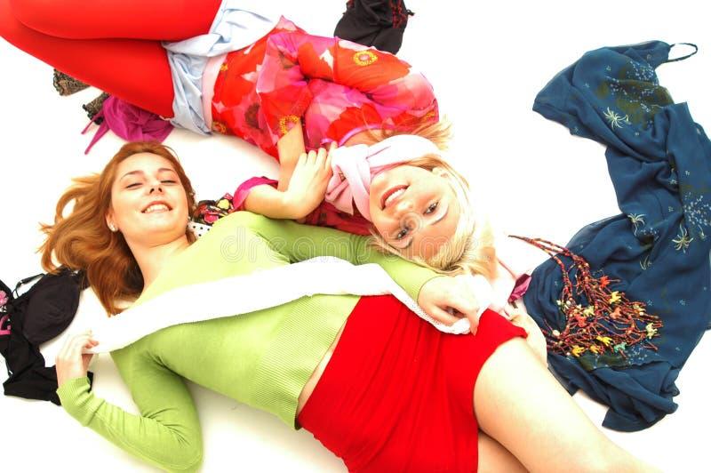 7 färgrika lyckliga tonåringar royaltyfria foton
