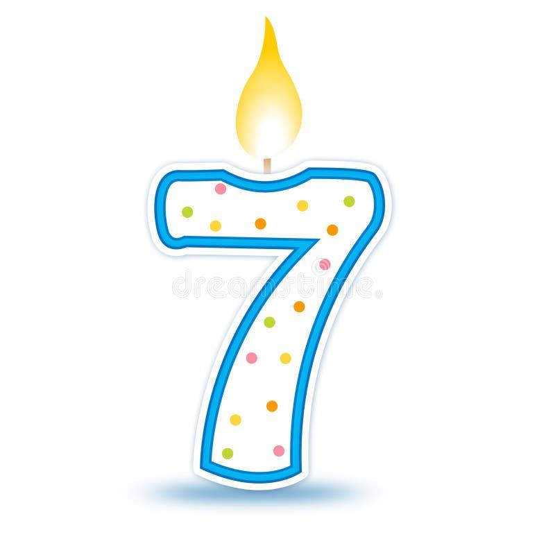 7 födelsedag stearinljus royaltyfri illustrationer