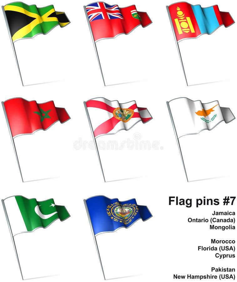 7 flaggastift royaltyfri illustrationer