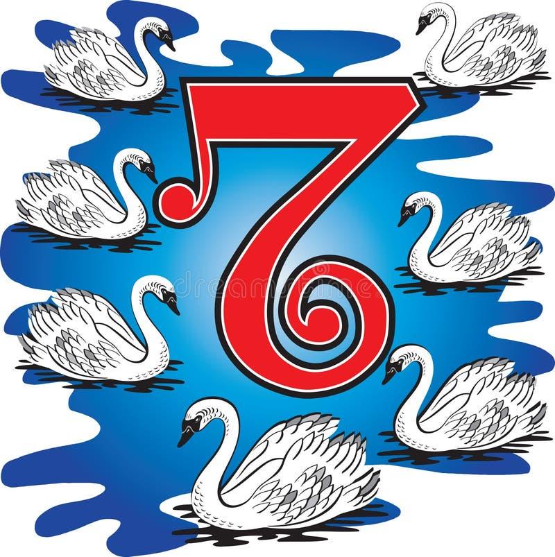 7 schwimmende Schwäne stock abbildung